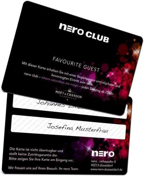Clubkarten drucken Nero