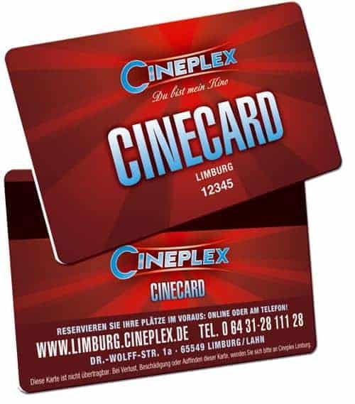 Plastikkarten für Kinos Cineplex