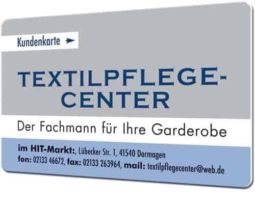 Plastikkarten für Textilreinigungen