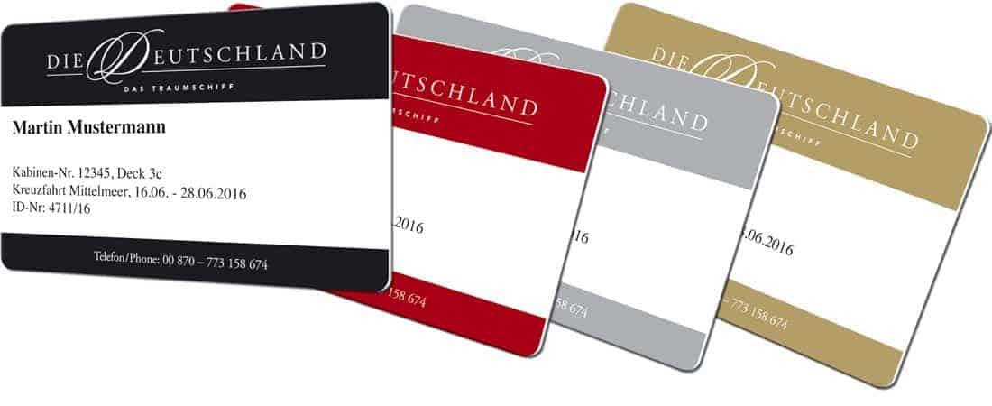 Plastikkarten Gold und Silber MS Deutschland