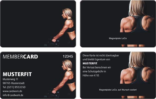 Plastikkarten Kleinauflagen Frau Fitnessstudio