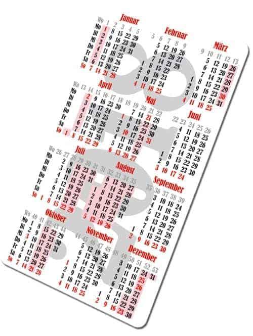 Kartenkalender 2018 Hochformat